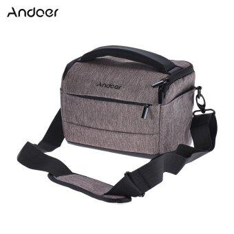 Andoer Cuboid-shaped DSLR Camera Shoulder Bag Portable Fashion Polyester Camera Case for 1 Camera 2 Lenses and Small Accessories for Canon Nikon Sony FujiFilm Olympus Panasonic - intl