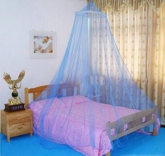 Elegant Lace Bed Canopy Mosquito Net (Blue)
