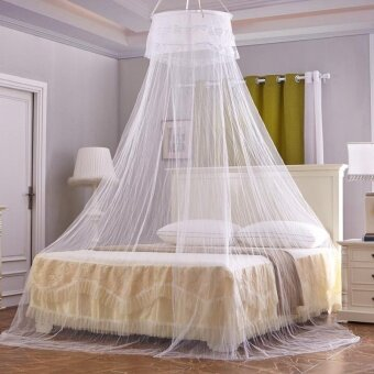 Honana WX-M01 Ceiling Mosquito Net Elegant Romantic Round Hung Dome Lace Curtain Bed Canopy - intl