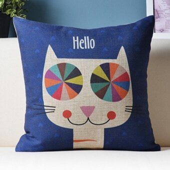 Mordern Cute Cat Pattern Printed Linen Pillowcases Home Decor CarSofa Cushion Covers - intl