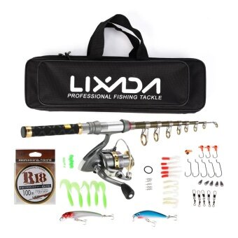Lixada 99% Carbon Fiber Telescopic Fishing Rod and Reel Combo Full Kit Spinning Fishing Reel Fishing Line Lure Gear Organizer Pole Set - intl