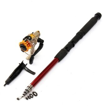 Portable Carbon Fibre Telescopic Travel Fishing Lure Rod Pole + Spinning Reels 2.4 - intl