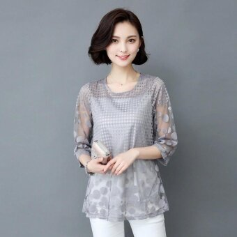 Amart Fashion Summer Women Lace Blouse 3/4 Sleeves Hollow O-NeckMesh Tops - intl