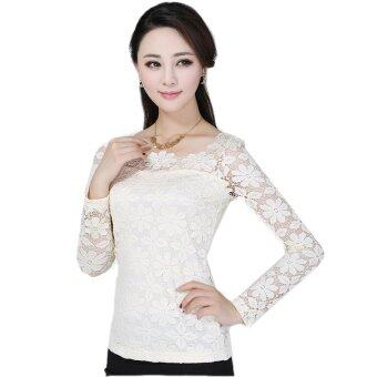 New Women Fashion Lace Crochet Blouse Long-sleeved Lace Tops PlusSize M-5XL Cream (Intl)