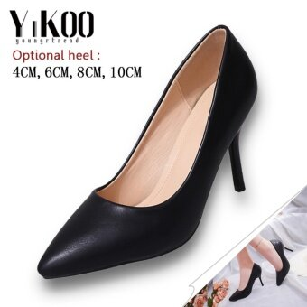 YIKOO Women's Pumps Party Shoes Pointed Toe High Heels High HeeledSandals (Black) 10CM Heel - intl
