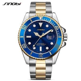 SINOBI Luxury SINOBI Watch Men Rotatable Bezel GMT Stainless Steel Watches Waterproof Gold Mans Sports Quartz