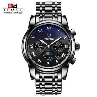 TEVISE Top Brand Mechanical Watch Luxury Men Business WatchsStainless Steel Band 3ATM Waterproof Moon Phase Calendar