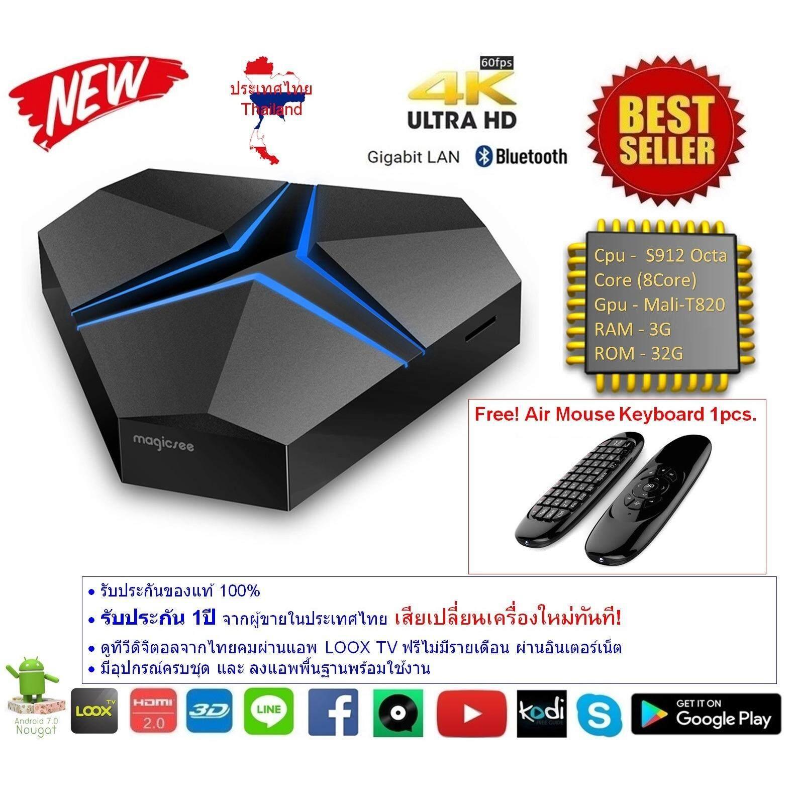 โปรโมชั่น Android Smart Tv Box Magicsee Iron Plus Octa Core Cpu S912 Ram 3G Rom 32G Uhd 4K Android Nougat 7 1 2 แถมฟรี Air Mouse Keyboard ใน กรุงเทพมหานคร