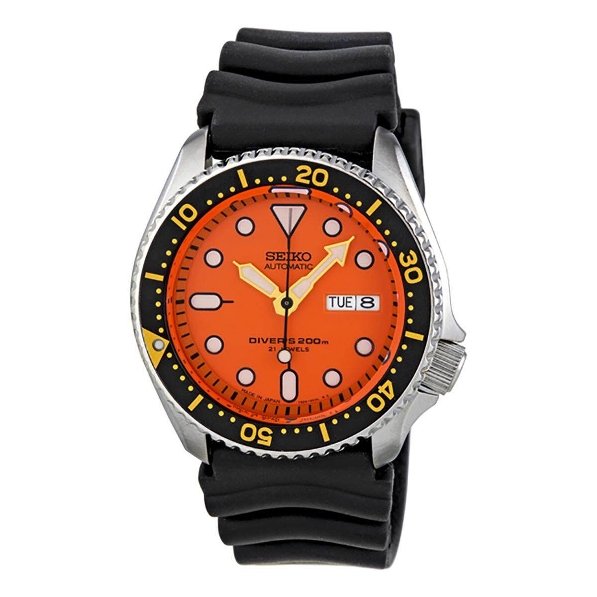 Seiko Watch Automatic Diver S Black Stainless Steel Case Rubber Strap Mens Japan Skx011J1 ถูก