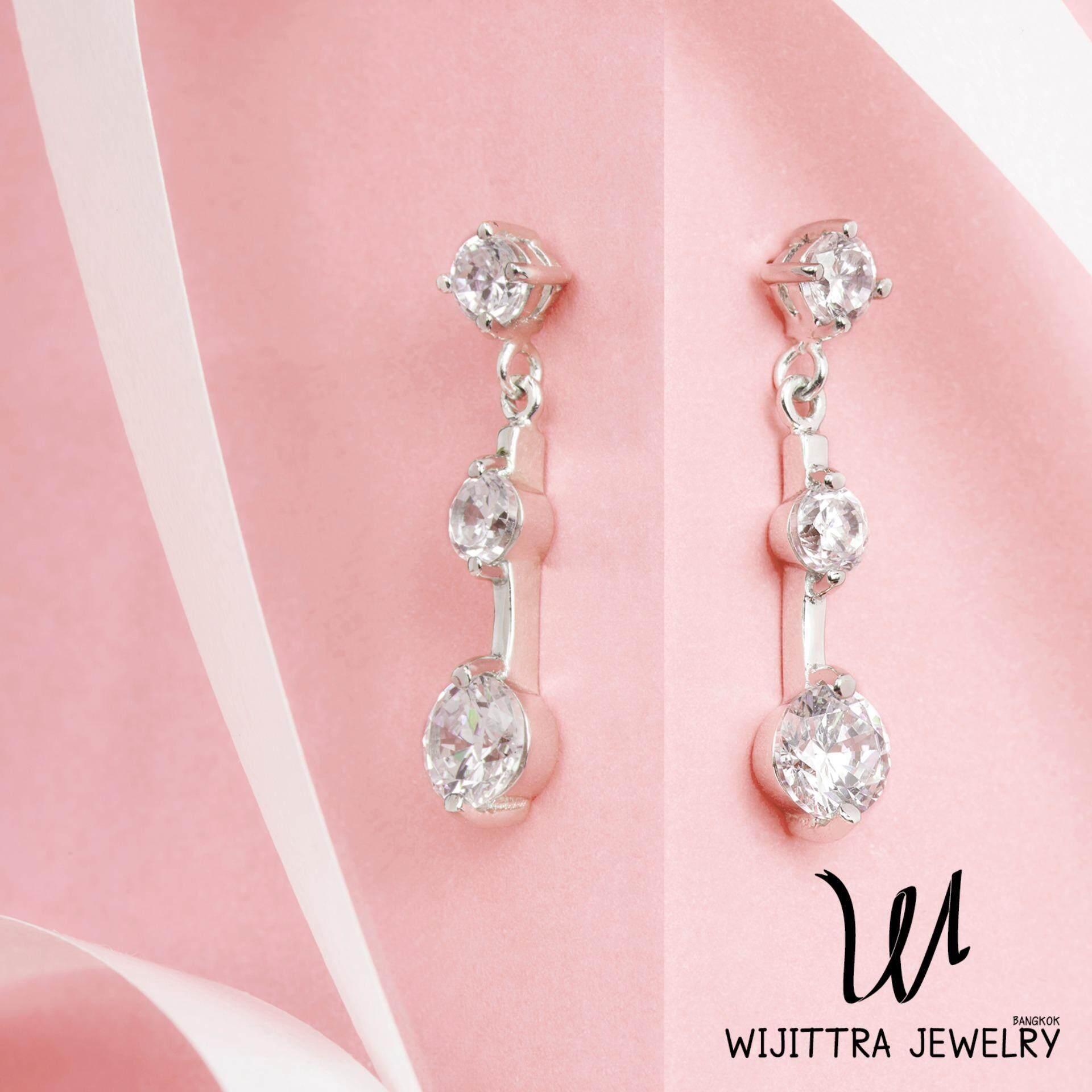 ราคา Aries Earrings Wijittra Jewelry ต่างหูเงินแท้ 925 ชุบโรเดียม เพชรสวิส Cubic Zirconia พร้อมกล่องเครื่องประดับ High End ถูก