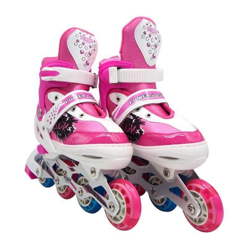 โปรโมชั่น Power รองเท้าอินไลน์สเก็ต โรลเลอร์เบลด โรลเลอร์สเก็ต สเก็ต Size M Pink Siamit