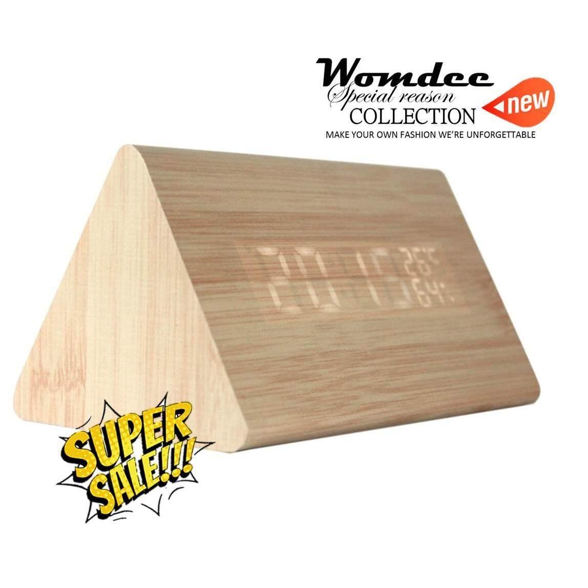 ราคา Womdee Wooden Triangle Wood Grain Sound Activated Led Digital Alarm Clock With Temperature And Humidity Display Bamboo Intl ใหม่