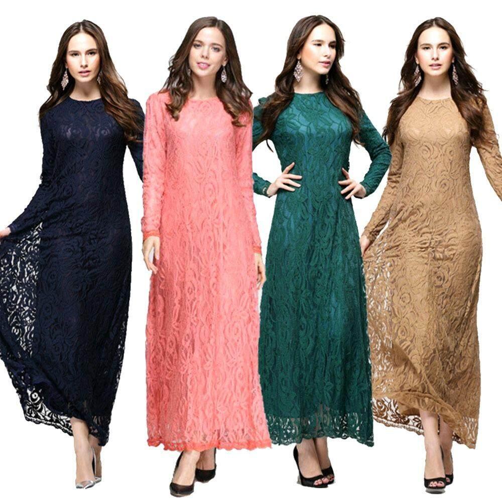 ขาย ซื้อ Lace Skirt Women Malay Muslim Dresses Skirt Arab Jubah Jumpsuit Long Sleeved Pink Intl ใน จีน