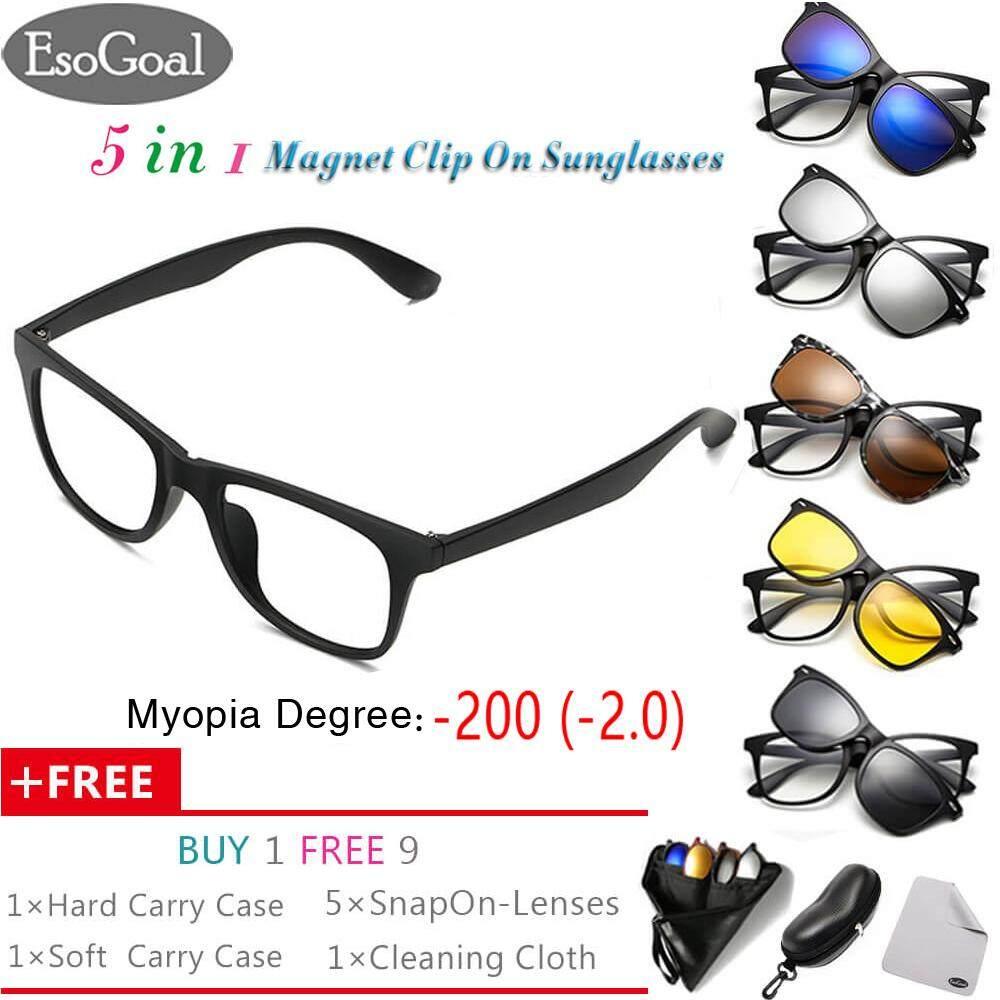 ส่วนลด Exclusive Sale Esogoal Myopia Magnetic Sunglasses 1 3 Clip On Glasses Unisex Polarized Lenses Retro Frame With Set Of 5 Lenses Esogoal ใน จีน