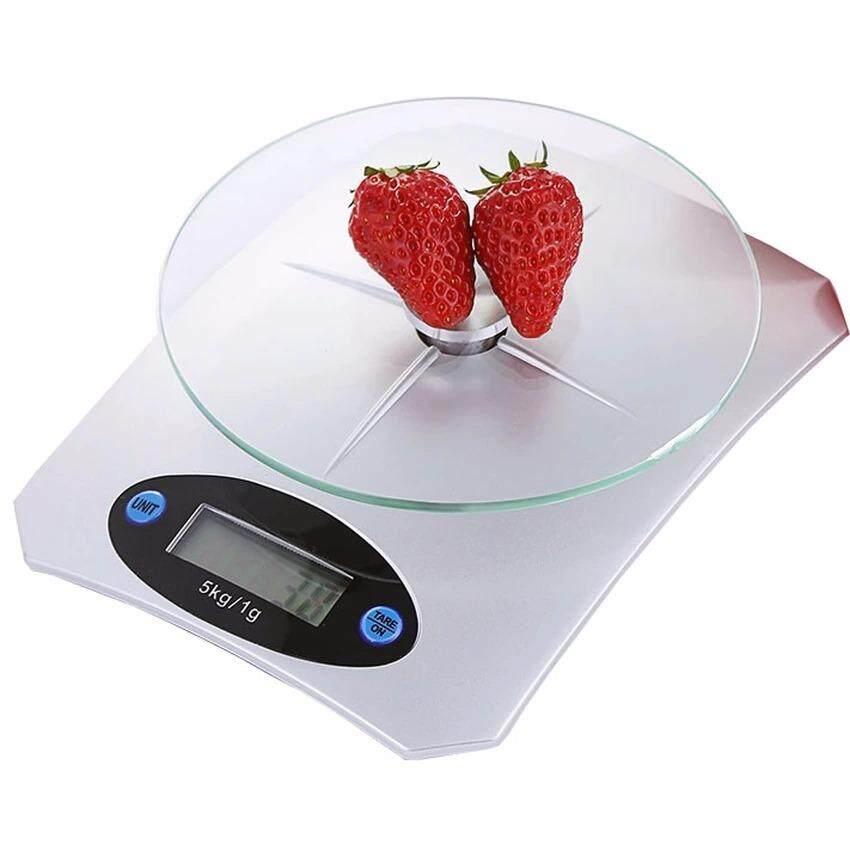 ส่วนลด Best Tempered Glass Electronic Kitchen Scale Max 5Kg ตาชั่งตวงอาหาร Digital เครื่องชั่งน้ำหนักอาหา ขนาดพกพา White