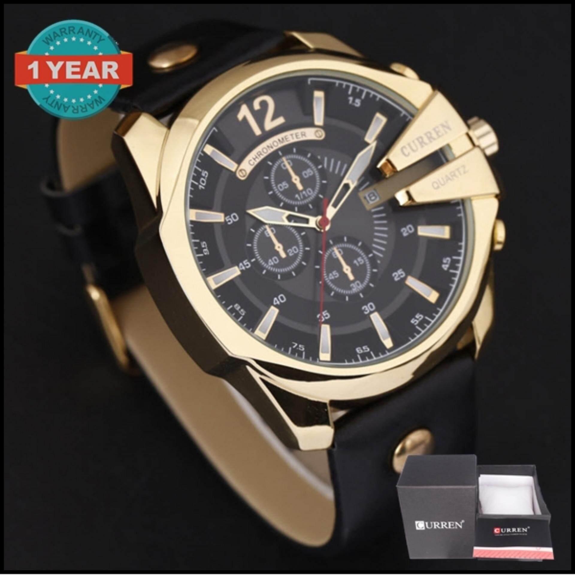 ขาย Curren นาฬิกาข้อมือผู้ชาย สายหนัง สีดำ ทอง รุ่น C8176 Curren ใน สมุทรปราการ