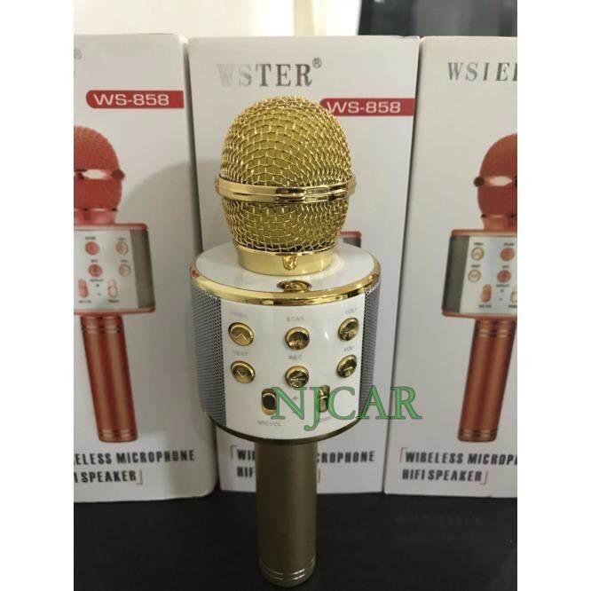Wster รุ่นWs858 Wirless Microphone Karaoke ลำโพง ไมค์ ไมค์ลอย ไมค์ไร้สาย คาราโอเกะ บลูทูธ ถูก