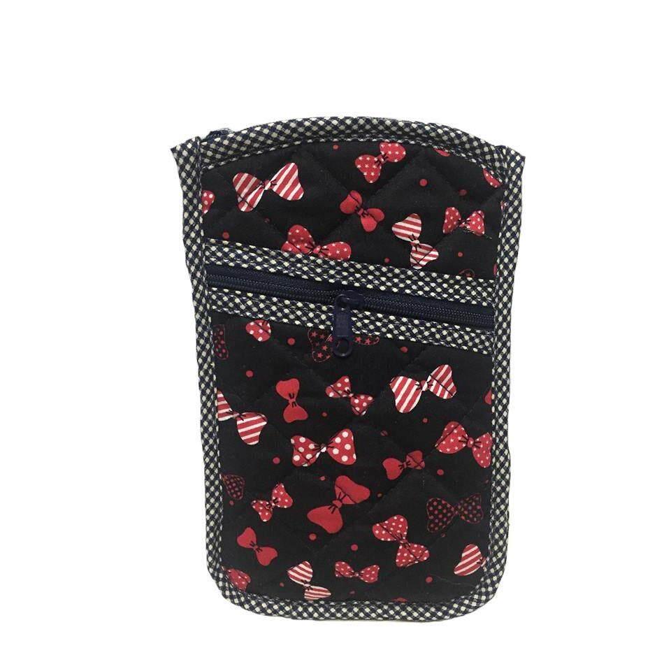 โปรโมชั่น กระเป๋าใส่เหรียญ ใส่โทรศัพท์มือถือ มีสายคล้องคอ ผ้าคอตตอนญี่ปุ่นพื้นสีดำ