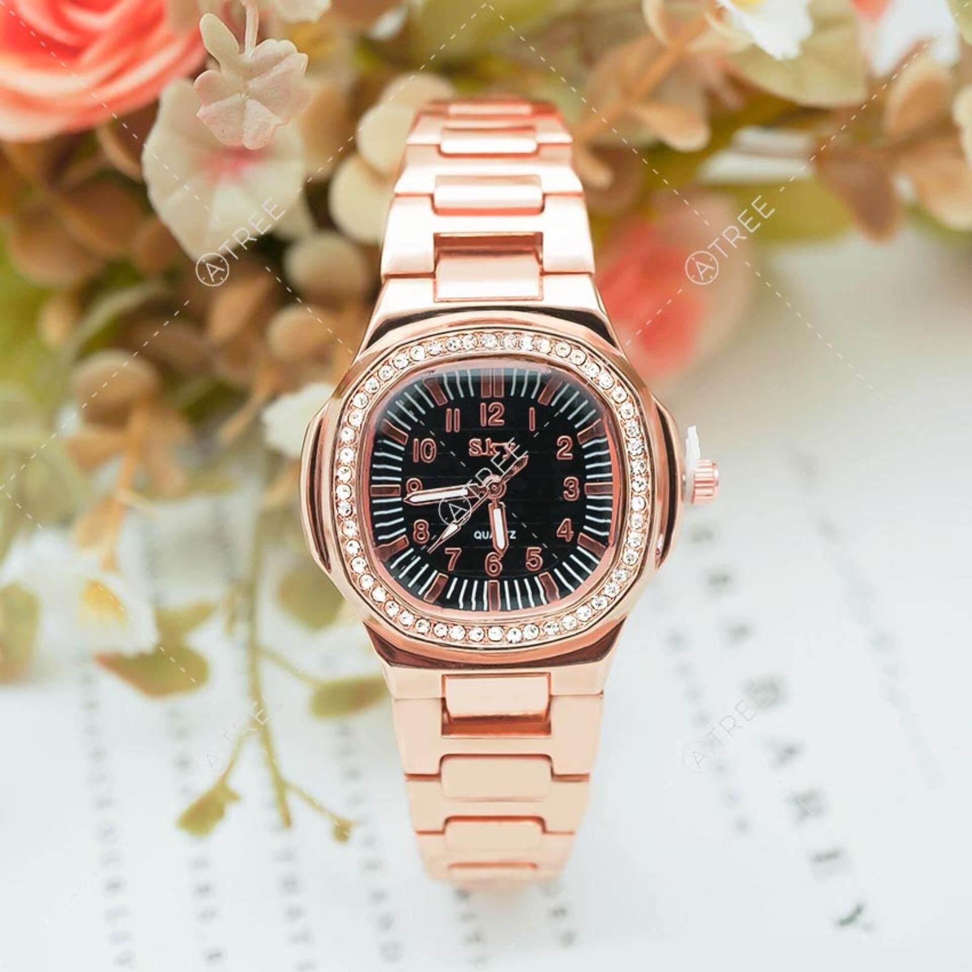 ขาย ซื้อ ออนไลน์ Sky นาฬิกาข้อมือ สายแสตนเลส หน้าปัดฝังเพชร สุดหรู ดูเวลาง่าย รุ่น Zd 0110 สีเงิน Silver