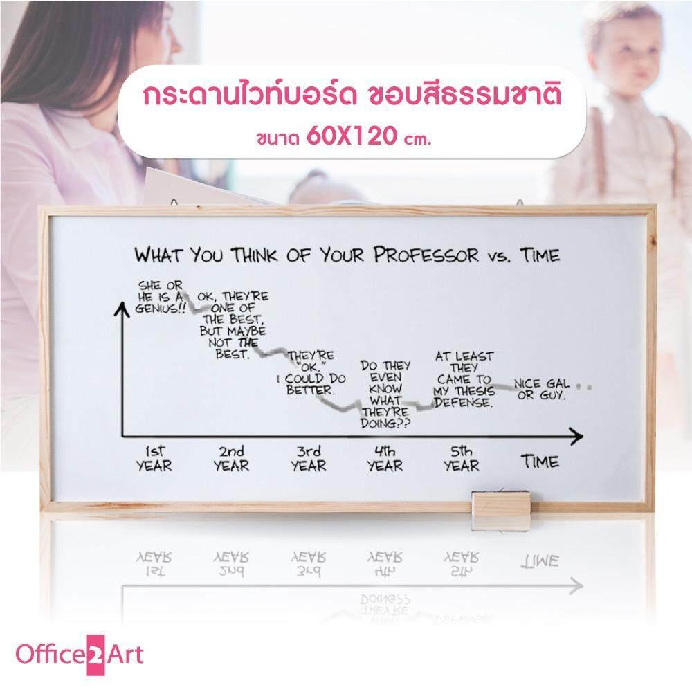 Office2art กระดาน Whiteboard กระดานไวท์บอร์ด แบบขอบไม้ ขนาด 60x120 cm. - สีธรรมชาติ