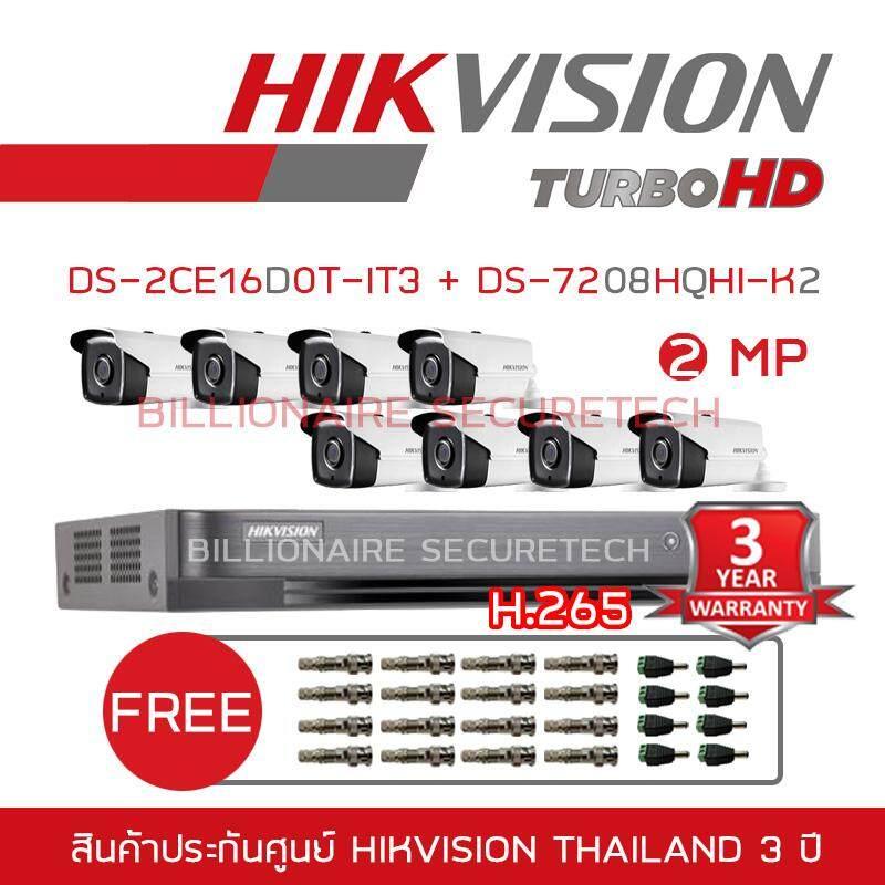 โปรโมชั่น Hikvision ชุดกล้องวงจรปิด 2 Mp Ds 7208Hqhi K2 Ds 2Ce16D0T It3 8 3 6 Mm Free Bnc Dc