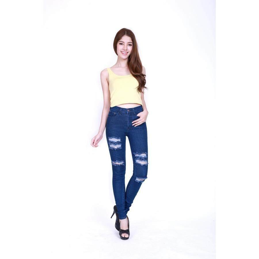 ซื้อ Eiffel Jeans กางเกงยีนส์ฟอก เอวสูง ขายาว ทรงสกินนี่ รุ่นตัดขาด Ehgt23 C สีน้ำเงิน ถูก ไทย