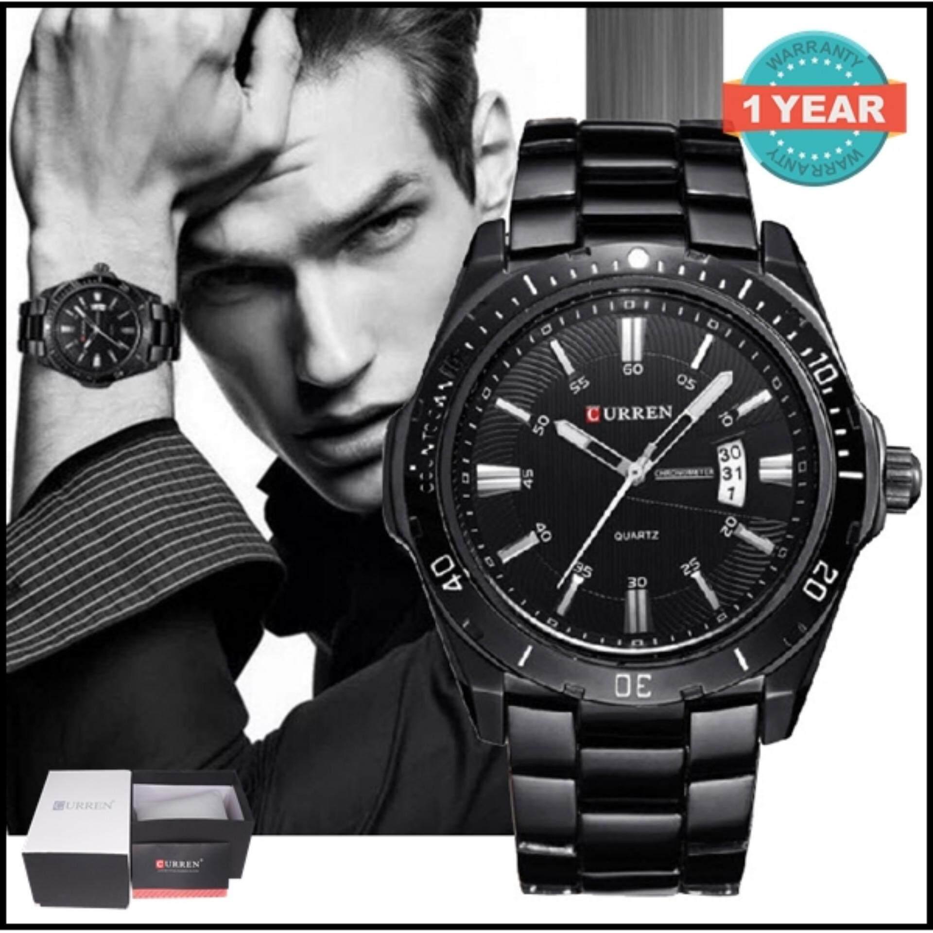 ซื้อ Curren นาฬิกาข้อมือสุภาพบุรุษ สายสแตนเลส รุ่น C8110 Black ถูก ใน สมุทรปราการ