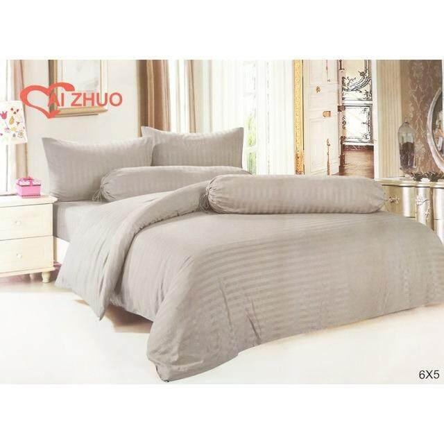 ราคา ผ้าปูที่นอนรัดมุม สีเทา ลายริ้ว เกรด A ขนาด 6 ฟุต 5 ชิ้น ไม่รวมผ้านวม รหัส M004 ลายริ้ว ใหม่