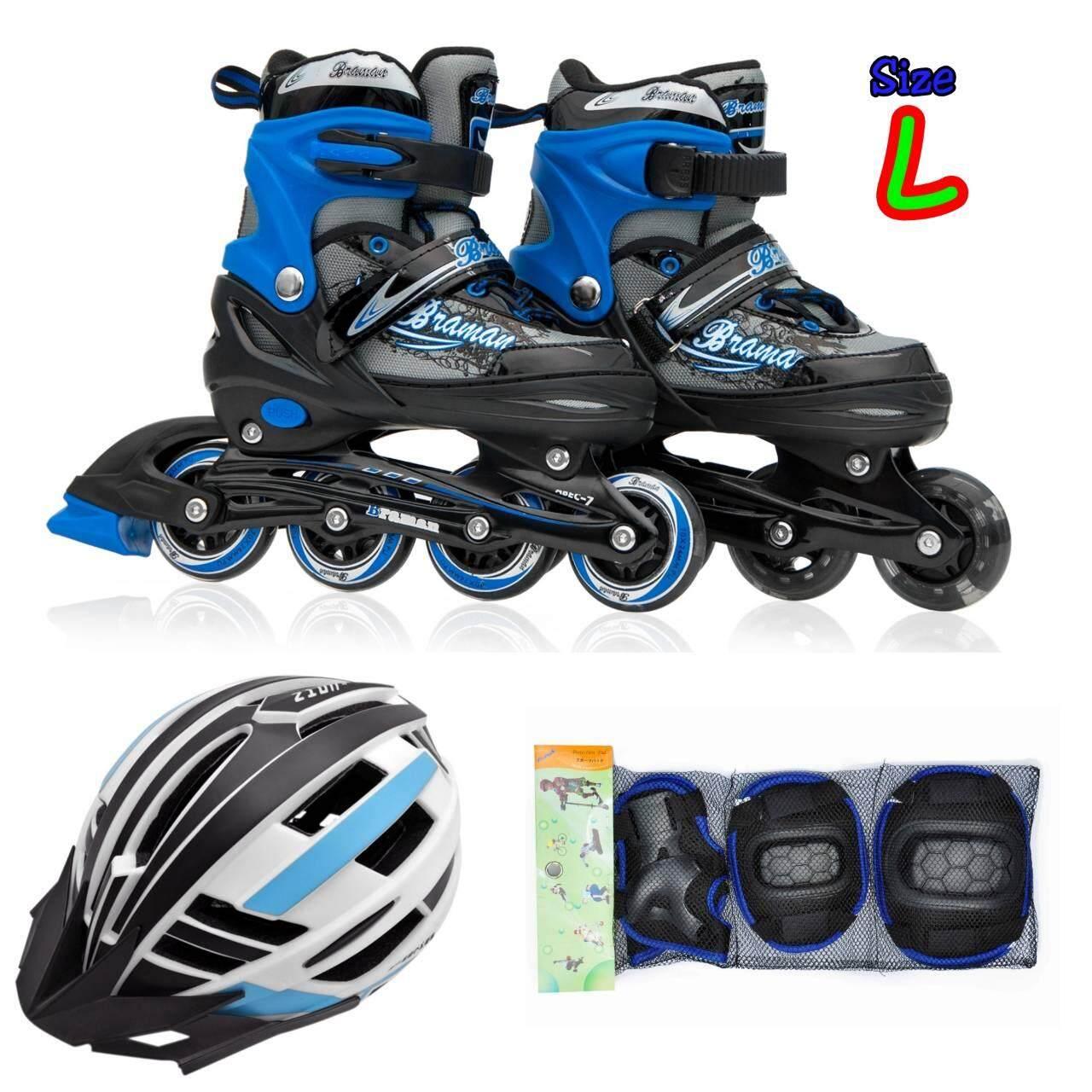 รองเท้าอินไลน์สเก็ต Premium Inline Skate Braman Aluminium Tracks Abec 7 Wheels With Lights 0415B Warranty 1 Year เบอร์ 33 36 Black L ครบชุด เป็นต้นฉบับ