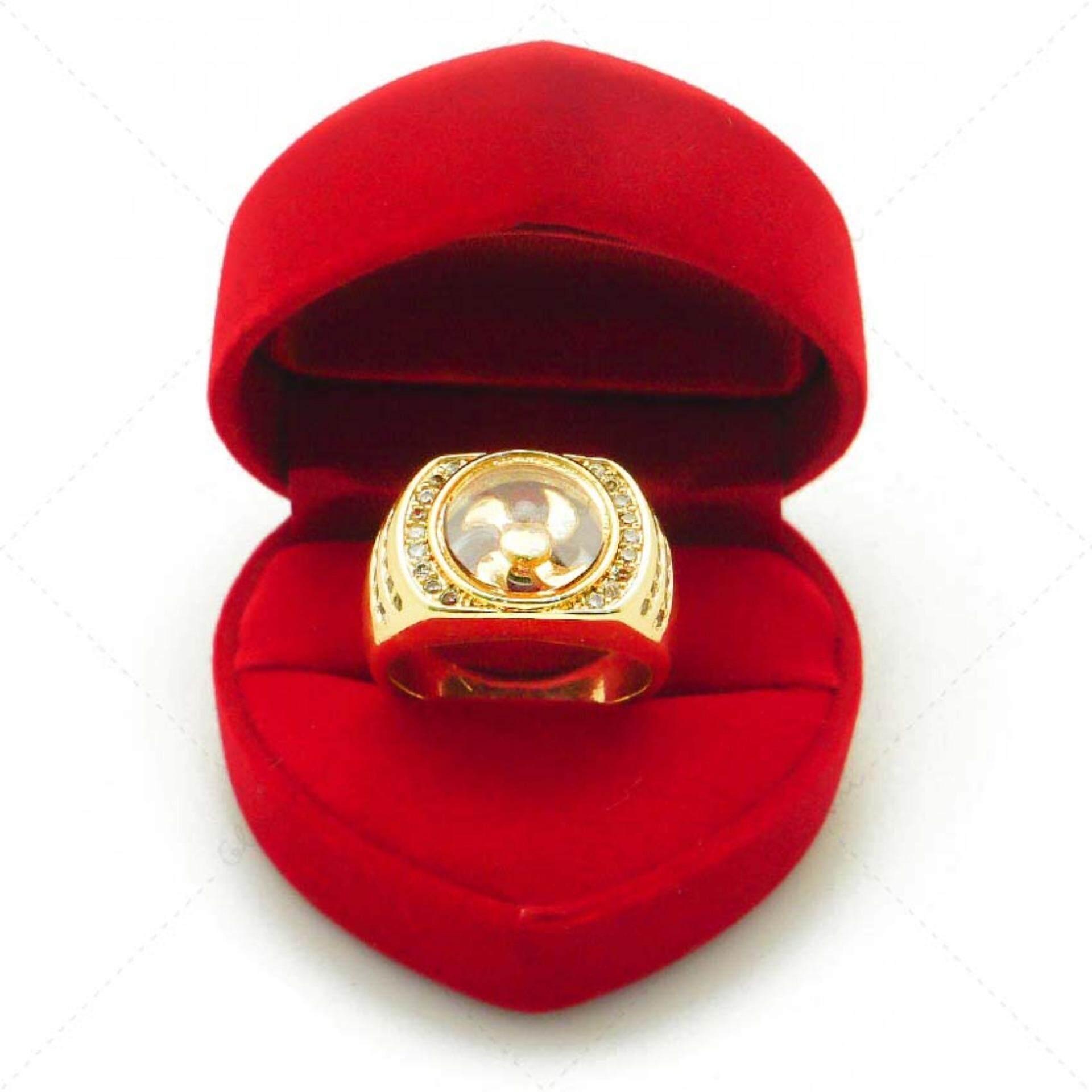 Bewi G แหวนผู้หญิง สไตล์ แหวนเสริมดวง Ring แหวนกังหัน นำโชค แชกงหมิว กังหันหมุนได้ ประดับเพชร Cz ชุบทอง เหมือนทองแท้ หรูหรา รุ่น Bg R0032 สีทอง Gold Bewi G ถูก ใน Thailand
