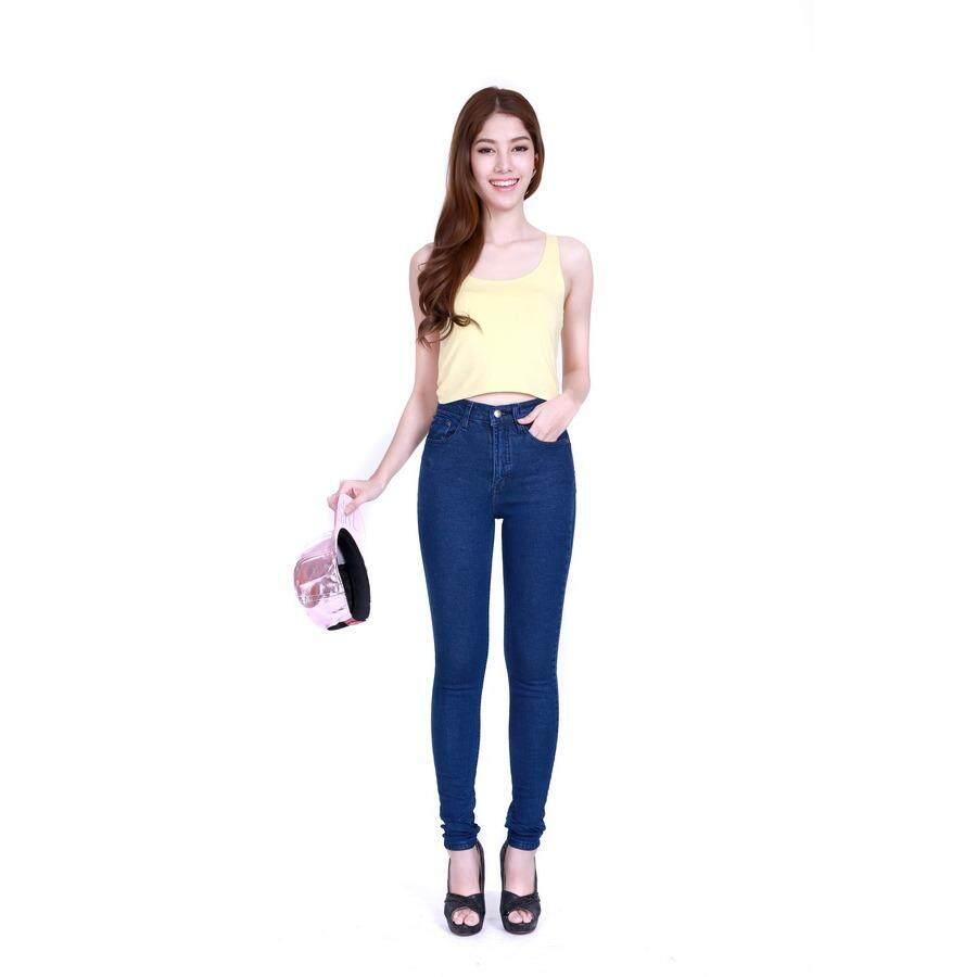 ราคา Eiffel Jeans กางเกงยีนส์ฟอก เอวสูง ขายาว ทรงสกินนี่ Ehgt23 สีน้ำเงิน