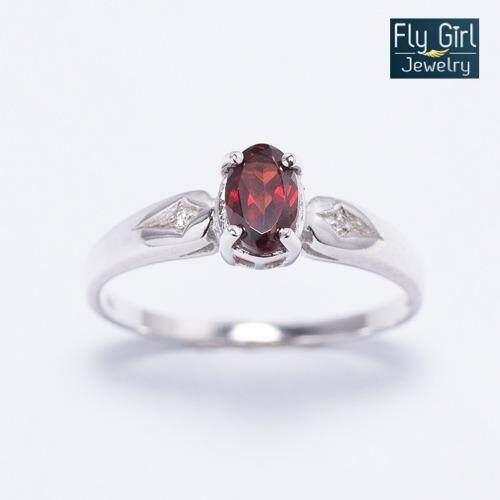 ซื้อ Fly G*rl Jewelry แหวนพลอยโกเมนแท้ เงินแท้ชุบทองคำขาว ออนไลน์