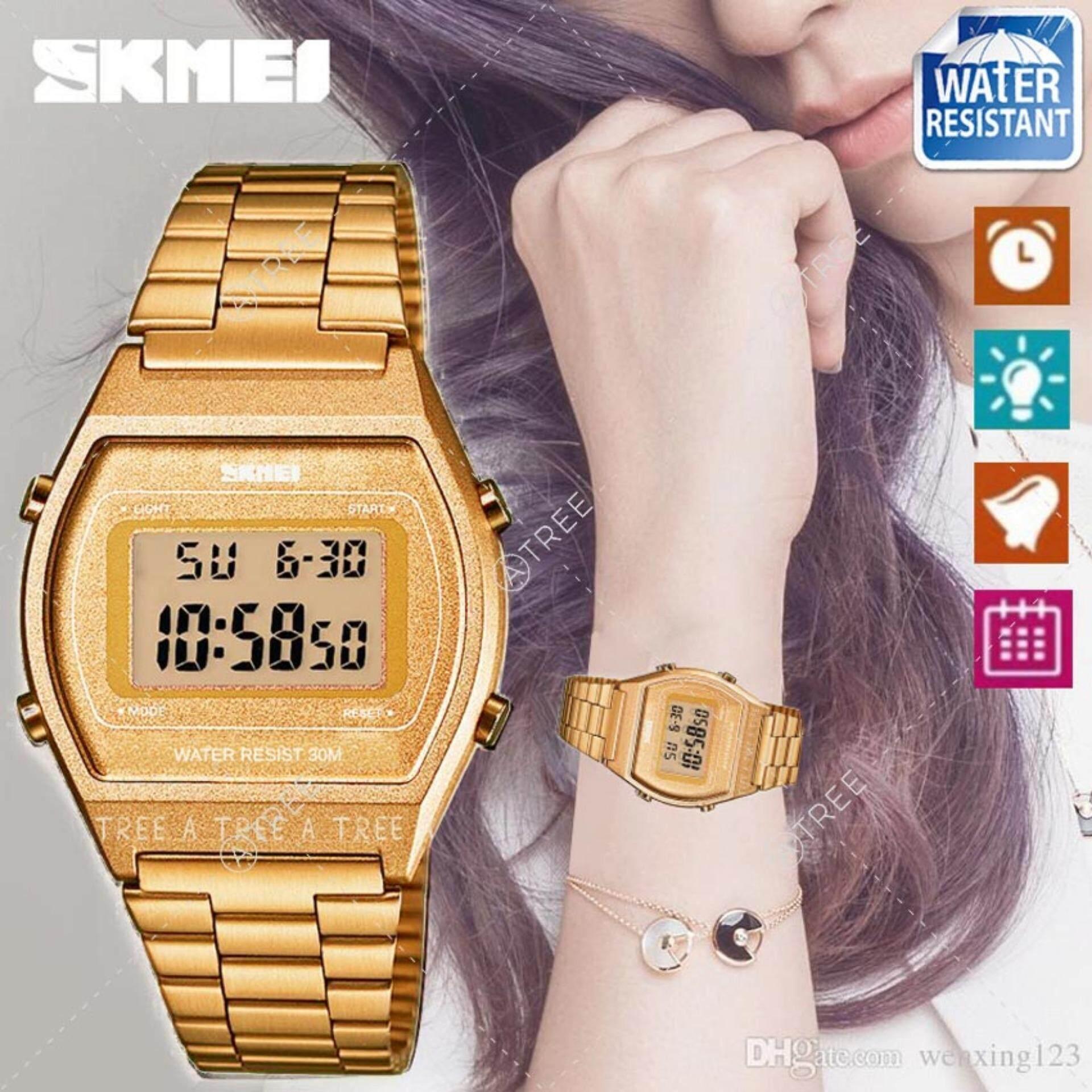 Skmei ของแท้ 100 ส่งในไทยไวแน่นอน นาฬิกาข้อมือผู้หญิง สไตล์ Casual Bussiness Watch จับเวลา ตั้งปลุกได้ ไฟ Led ส่องสว่าง สายแสตนเลสสีพิ้งโกลด์ รุ่น Sk M1328 สีทอง Gold ใน กรุงเทพมหานคร