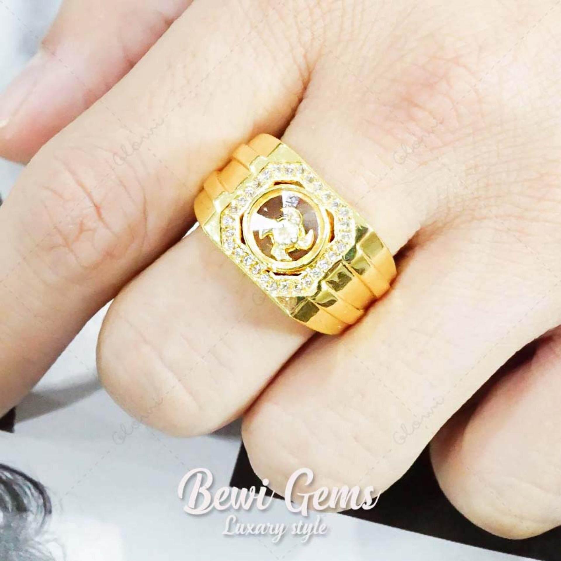 Bewi G แหวนผู้หญิง สไตล์ แหวนเสริมดวง Ring แหวนกังหัน นำโชค แชกงหมิว กังหันหมุนได้ ประดับเพชร Cz ชุบทอง เหมือนทองแท้ หรูหรา รุ่น Bg R0031 สีทอง Gold ใน ไทย