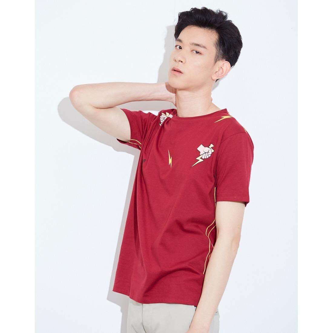 ส่วนลด Da Pp เสื้อยืดสีแดง พิมพ์ลายสายฟ้า สำหรับผู้ชาย Da Pp