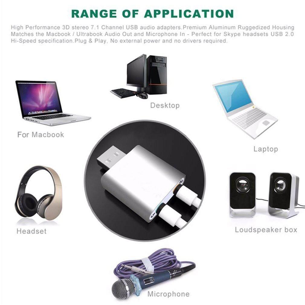 USB2.0 External Channel 7.1 3D Virtual Audio Sound Card Mic Adapter fr PC Laptop