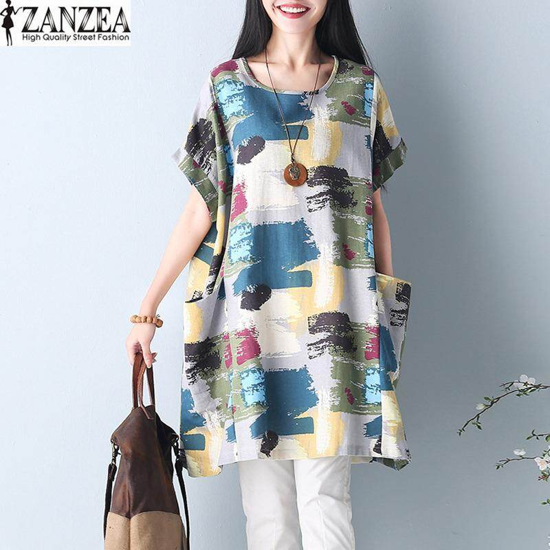 ซื้อ Zanzea ฤดูร้อนผู้หญิงคอพิมพ์ลายย้อนยุคแขนสั้นขนาดใหญ่ปีกค้างคาว Kaftan ชุดเสื้อยาว Vestido M 5Xl Floral2 นานาชาติ Zanzea ออนไลน์