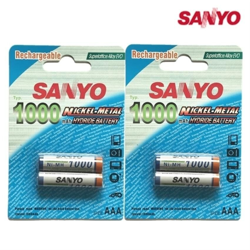 ซื้อ Sanyo ถ่านชาร์จ Aaa 1000 Mah Nimh Rechargeable Battery 4 ก้อน ถูก ใน กรุงเทพมหานคร