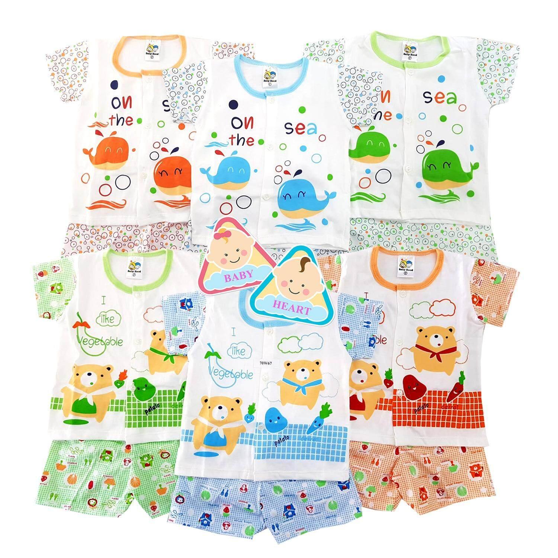 ราคา Baby Heart ชุดเสื้อเด็กแรกเกิดรุ่นกระดุม แขนสั้น ขาสั้น ผ้าCotton100 แพ็ค 6 ชุด ลายหมีลายปลา ราคาถูกที่สุด