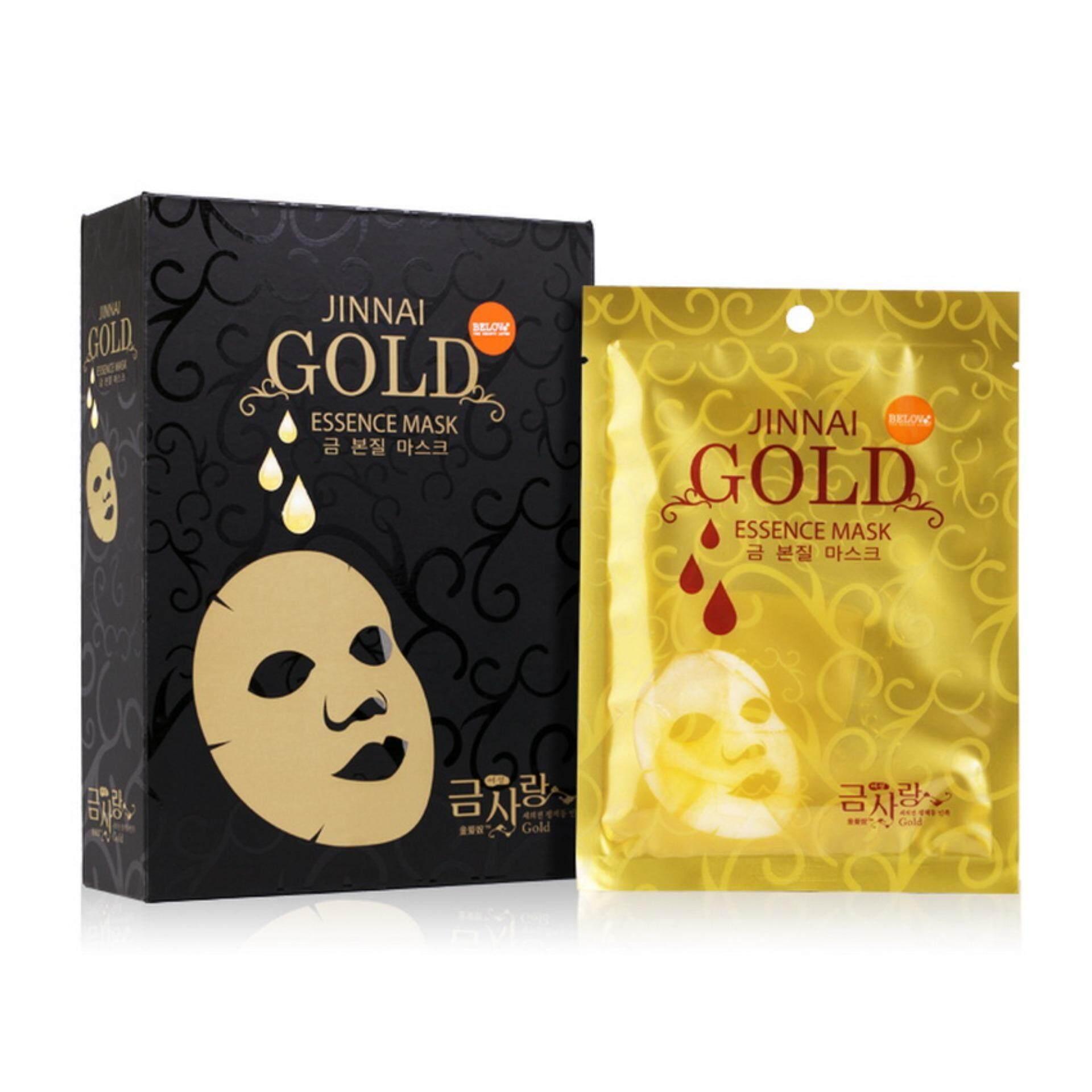 โปรโมชั่น Belov Jinnai Gold Essence Mask จินนาย มาส์คเอซเซนท์ทองคำ กล่องดำ กล่องละ 10 แผ่น