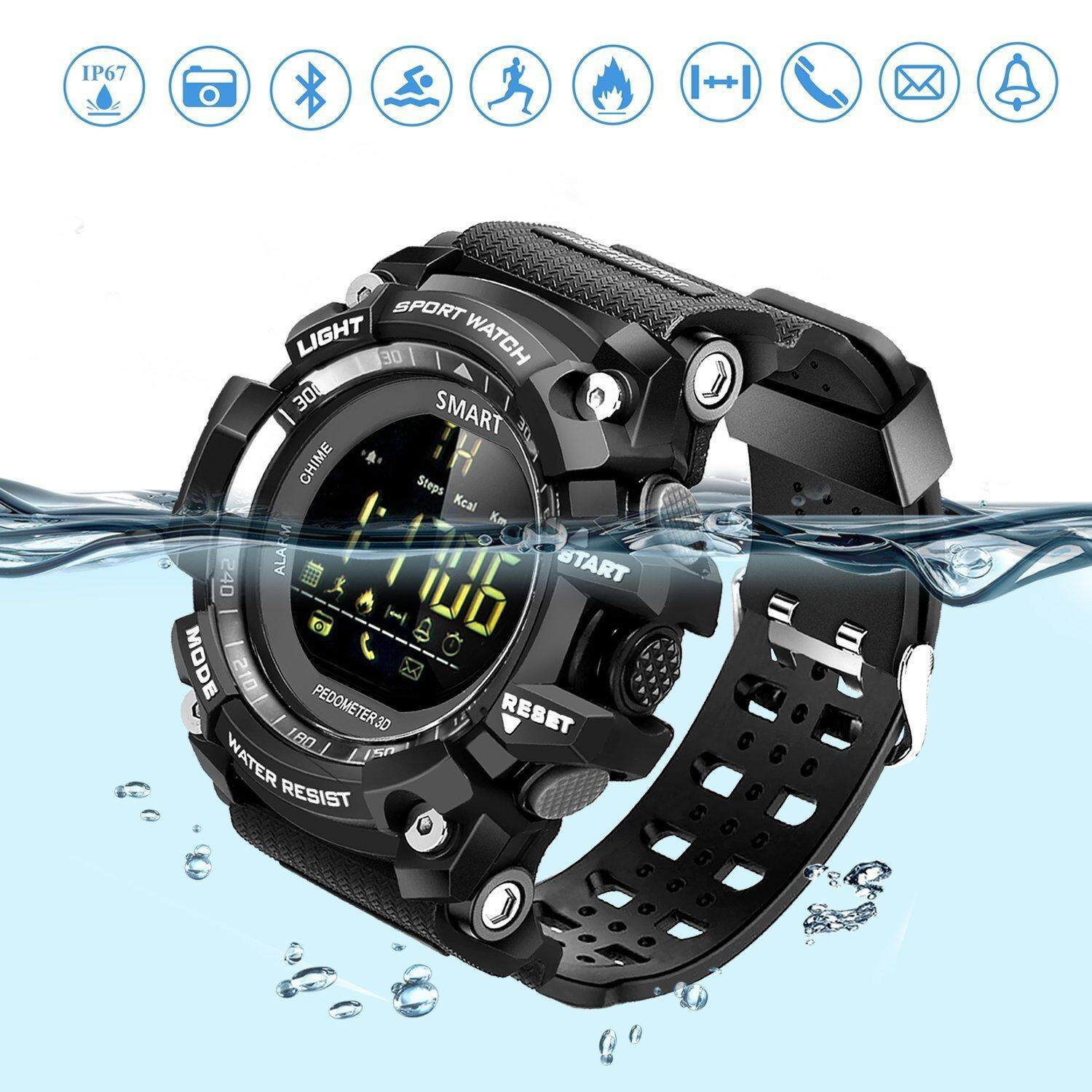 ขาย Jvgood Sports Smart Watch Bluetooth Watch Pedometer Fitness Tracker Wearable Technology Ip67 Waterproof Remote Camera Running Equipment Android And Smartphones Best Choice Men And Boys Black จีน