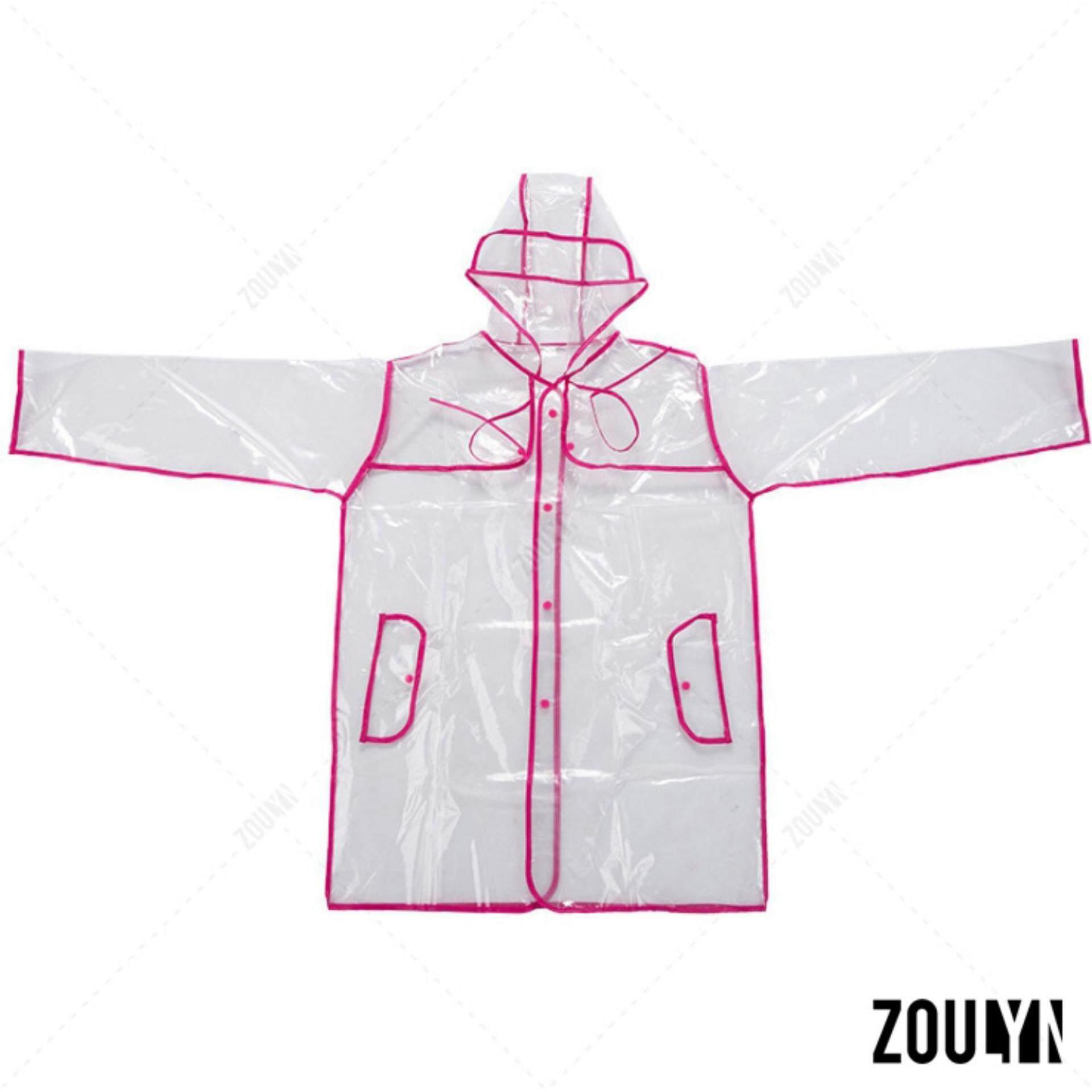 ซื้อ Zoulyn เสื้อกันฝน แฟชั่น โปร่งใส Fashion Transparent Waterproof Rain Coat ชุดกันฝน สไตล์ญี่ปุ่น รุ่น Kdf 0006 สีชมพู Pink ถูก ใน กรุงเทพมหานคร