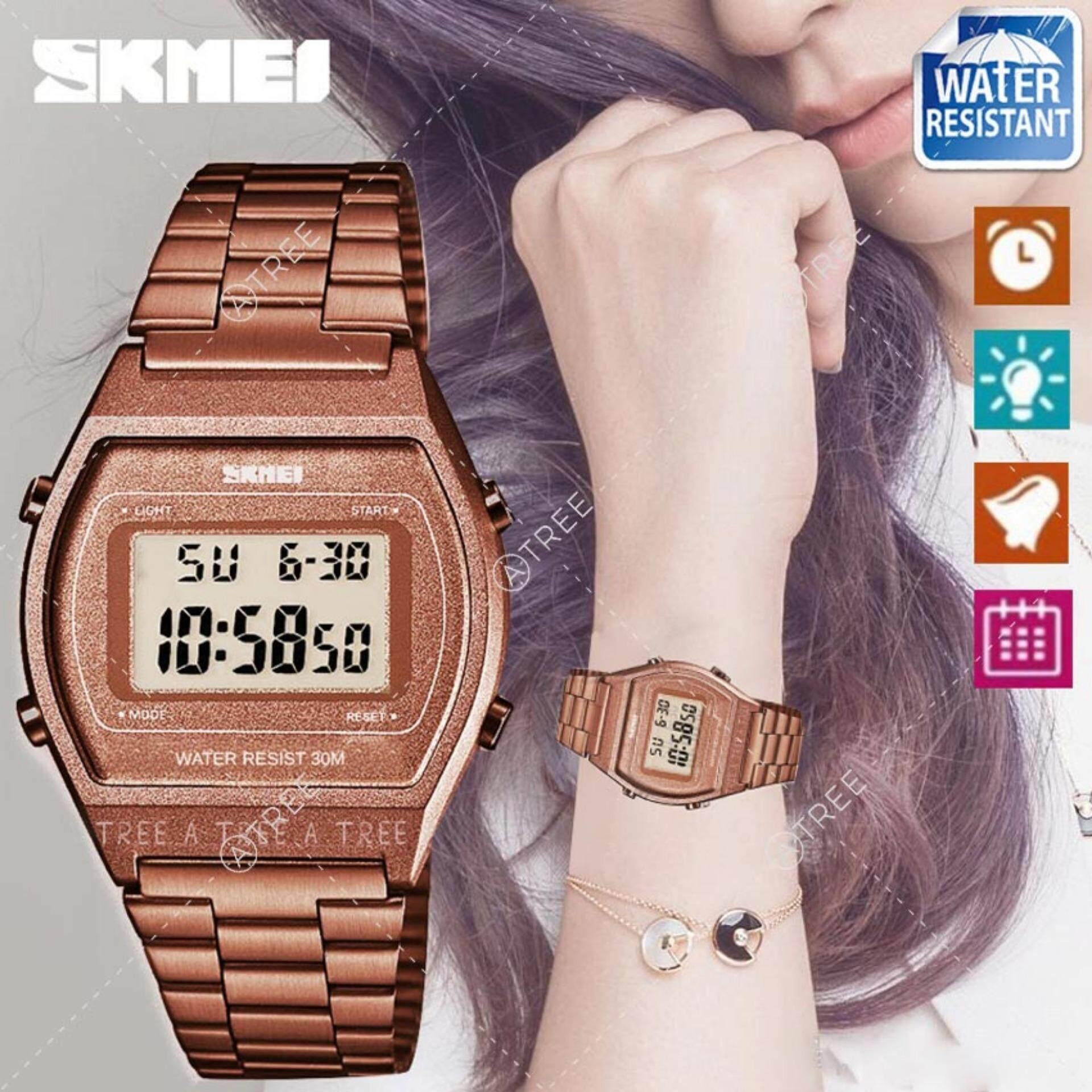 ขาย Skmei ของแท้ 100 ส่งในไทยไวแน่นอน นาฬิกาข้อมือผู้หญิง สไตล์ Casual Bussiness Watch จับเวลา ตั้งปลุกได้ ไฟ Led ส่องสว่าง สายแสตนเลสสีพิ้งโกลด์ รุ่น Sk M1328 สีน้ำตาล Brown Thailand