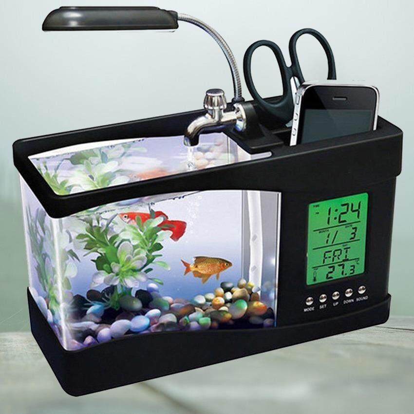 Newflyสีดำ Ajusen USB Desktop Electronic Aquarium หลอดไฟถังปลาขนาดเล็กที่มีการใช้น้ำปั๊ม LED นาฬิกาปลุกปฏิทินเวลาการทำงานสำหรับการตกแต่งสำนักงานที่บ้าน