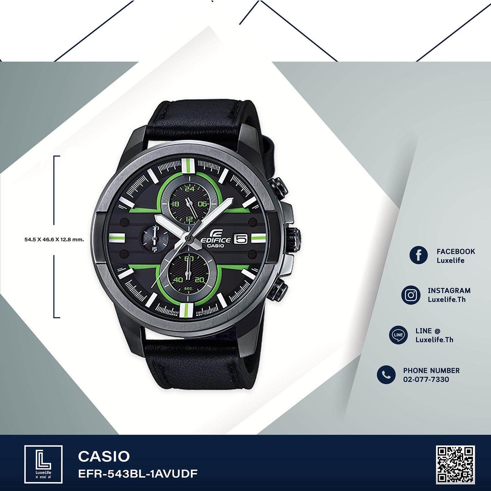 ขาย นาฬิกาข้อมือ Casio รุ่น Efr 543Bl 1Avudf Edifice Chronograph นาฬิกาข้อมือผู้ชาย สายหนัง Black Green Casio Edifice