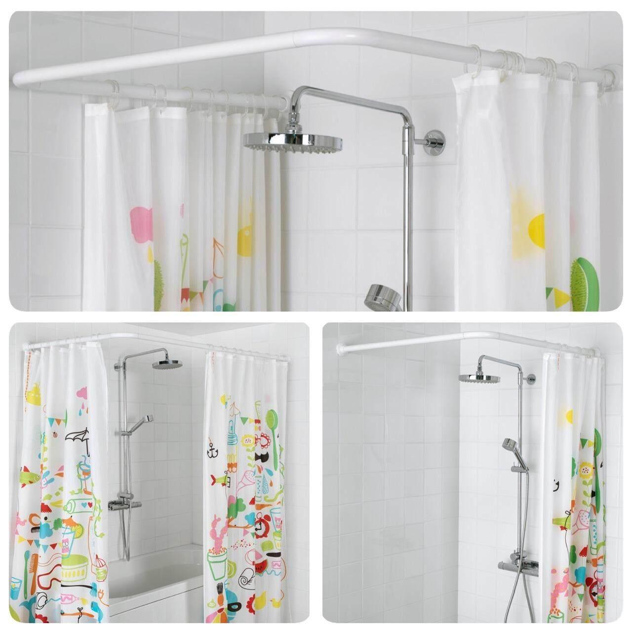 ราวม่านห้องน้ำ ปรับมุมได้ถึง 3แบบ ไม่ต้องเจาะ อลูมิเนียมอย่างดี สีขาว ราวผ้าม่าน Happy-T