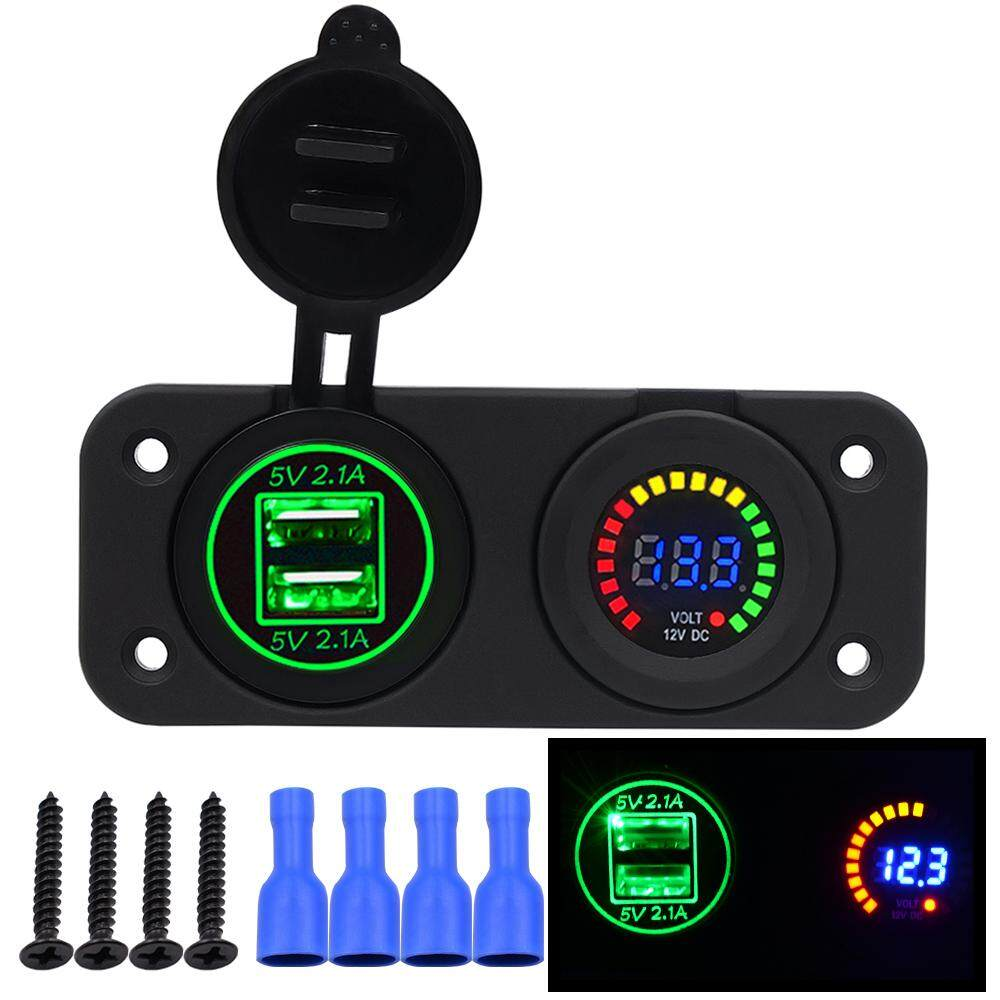 12V/24V 4 2A Car USB Charger Colorful Screen Voltmeter Car Refit Accessory  Adapter Emitting Color:Green