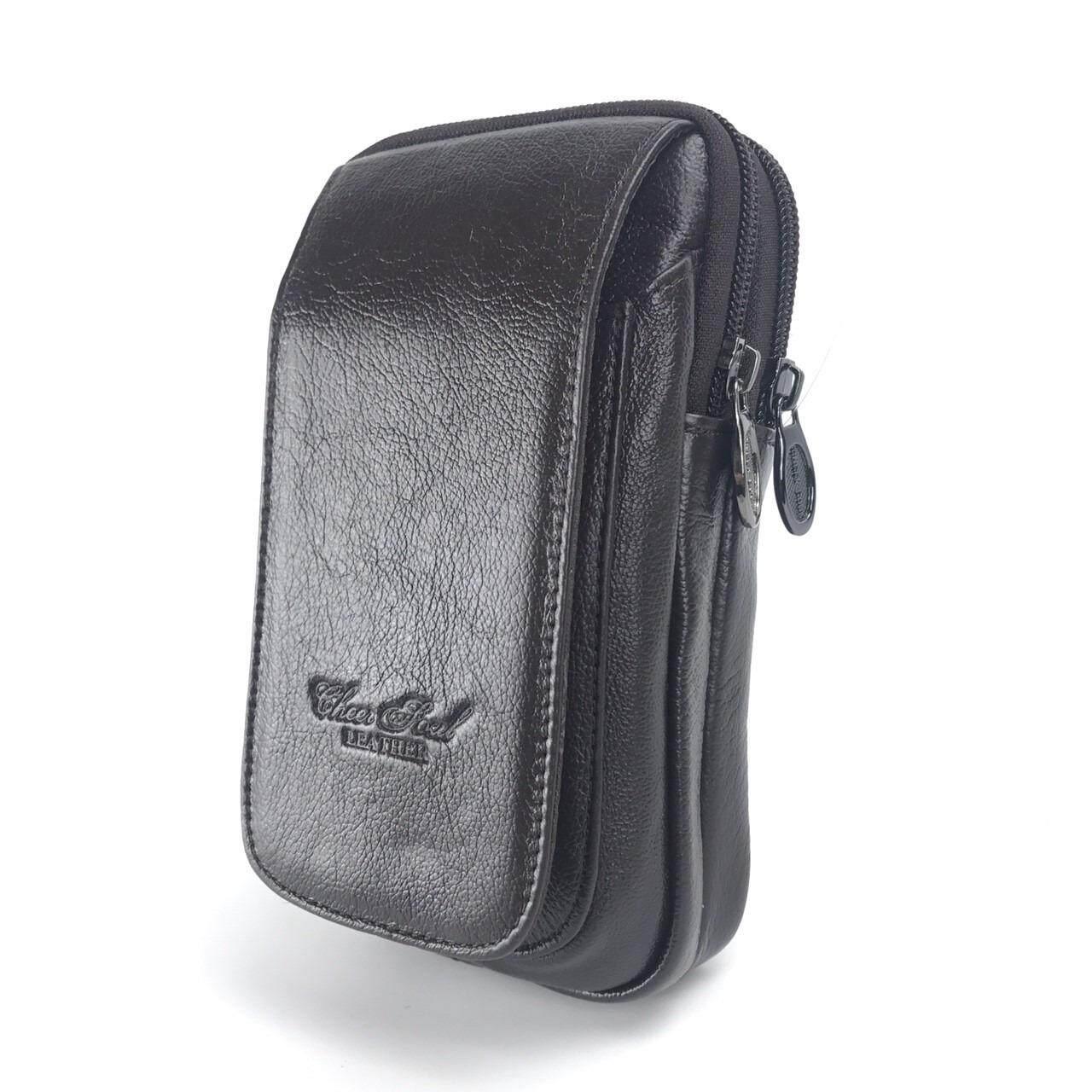 โปรโมชั่น Chinatown Leatherกระเป๋าหนังแท้ใส่มือถือร้อยเข็มขัดรุ่นมือถือหนังแท้3เครื่องฝายาวตั้งIphone6 สีน้ำตาล Chinatown Leather