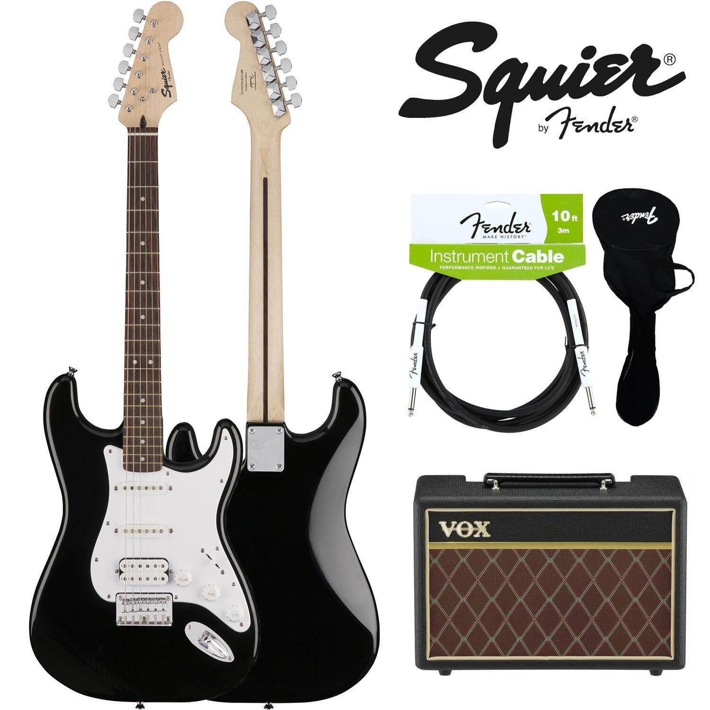 Fender® กีตาร์ไฟฟ้า Hss รุ่น Squier Bullet Strat สีดำ อุปกรณ์กีตาร์ของแท้ ใน ไทย