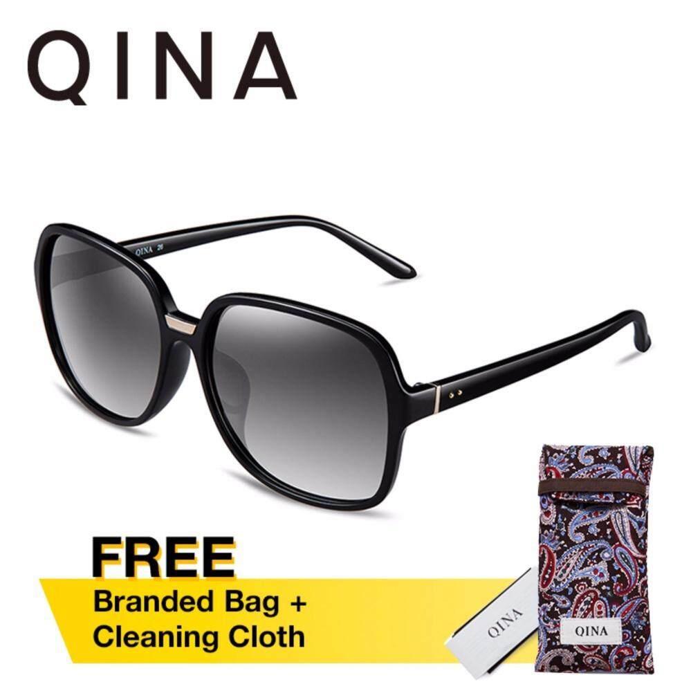 ซื้อ Qina แว่นกันแดดโพลาไรซ์สำหรับผู้หญิง กรอบใหญ่สีดำ เลนส์ป้องกันรังสี Uv400 สีเทา Qn3510 ออนไลน์